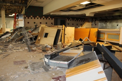 Matthew Yencha/Facilities Demolition of the dining hall began on August 18, 2014.