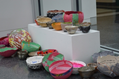 Victoria Brobst/Crestiad Student-made bowls were displayed by the entrance to the Lachaise Gallery.