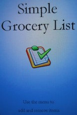 Simple grocery list app home screen